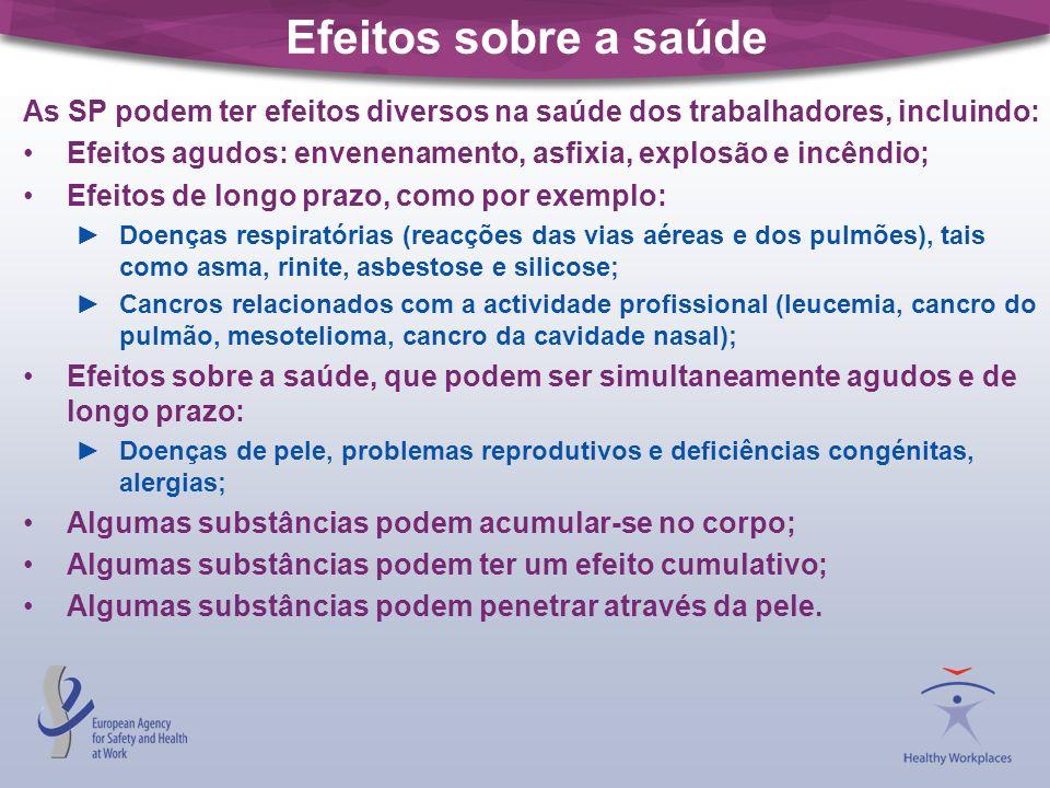 Efeitos sobre a saúde As SP podem ter efeitos diversos na saúde dos trabalhadores, incluindo: