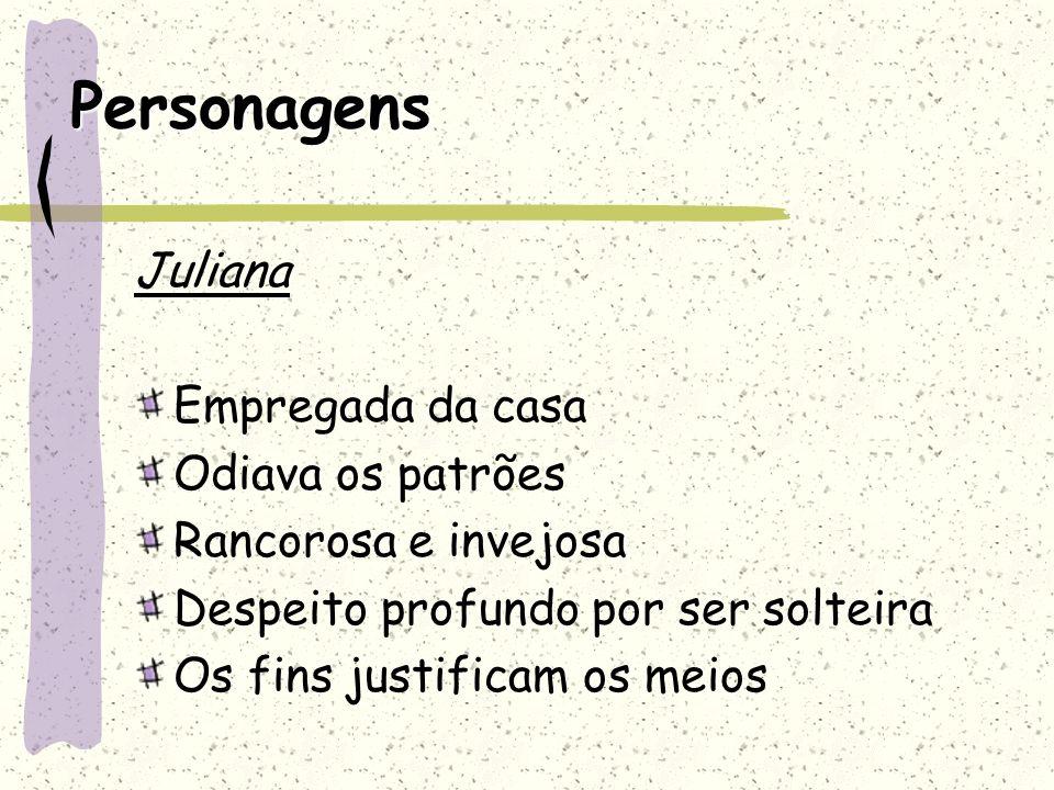 Personagens Juliana Empregada da casa Odiava os patrões