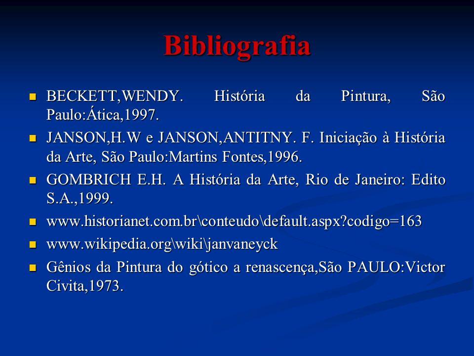 Bibliografia BECKETT,WENDY. História da Pintura, São Paulo:Ática,1997.