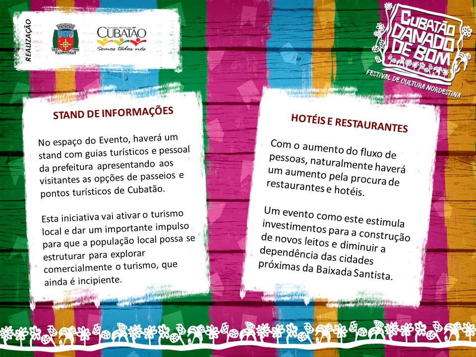 STAND DE INFORMAÇÕES HOTÉIS E RESTAURANTES