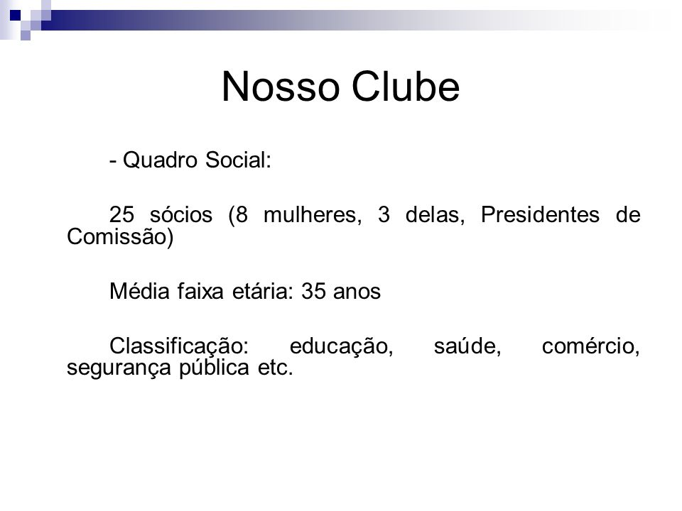 Nosso Clube 25 sócios (8 mulheres, 3 delas, Presidentes de Comissão)