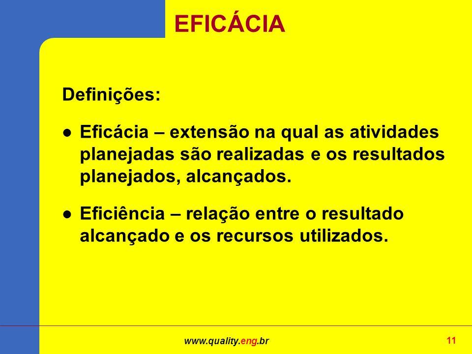 EFICÁCIA Definições: Eficácia – extensão na qual as atividades planejadas são realizadas e os resultados planejados, alcançados.