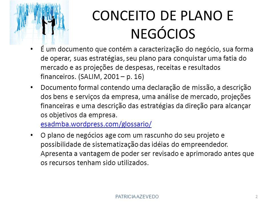 CONCEITO DE PLANO E NEGÓCIOS