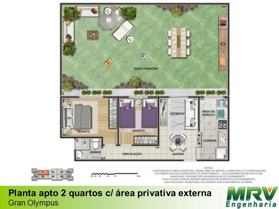 Planta apto 2 quartos c/ área privativa externa