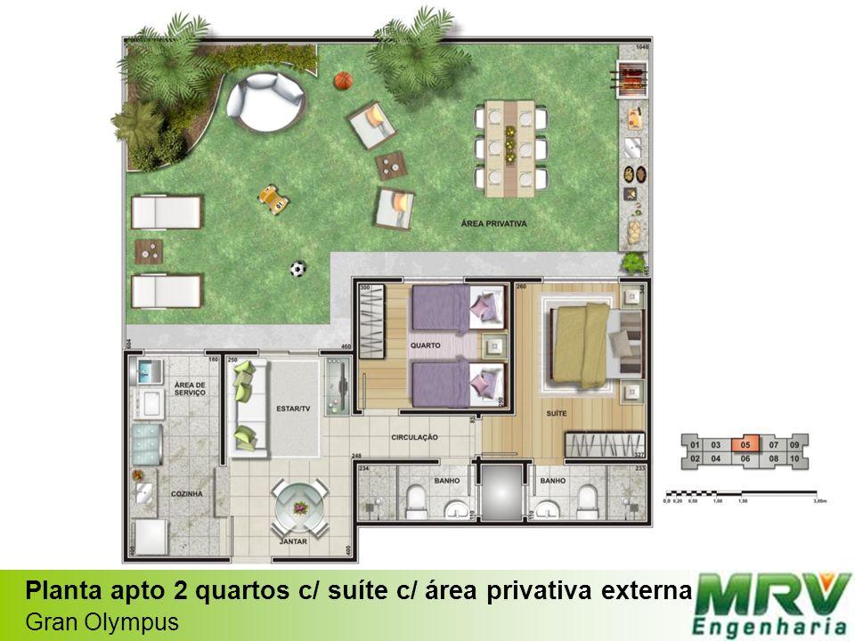 Planta apto 2 quartos c/ suíte c/ área privativa externa