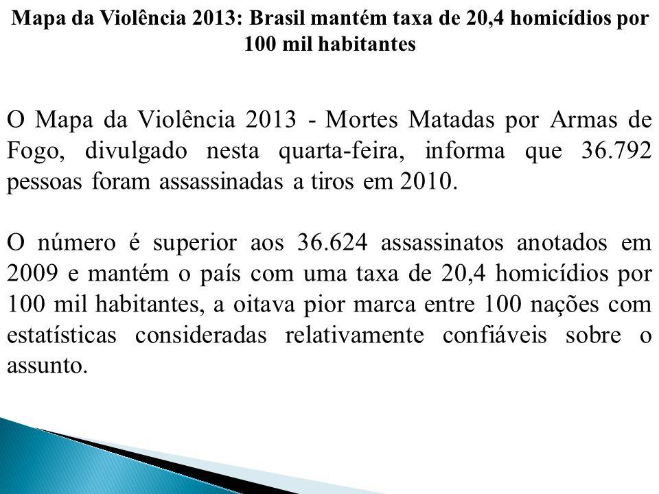 Mapa da Violência 2013: Brasil mantém taxa de 20,4 homicídios por 100 mil habitantes