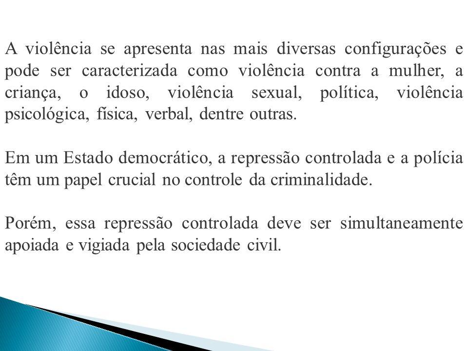 A violência se apresenta nas mais diversas configurações e pode ser caracterizada como violência contra a mulher, a criança, o idoso, violência sexual, política, violência psicológica, física, verbal, dentre outras.