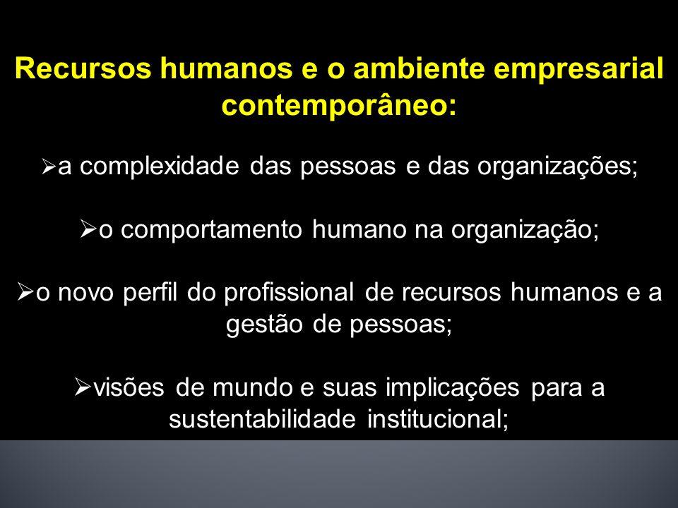 Recursos humanos e o ambiente empresarial contemporâneo: