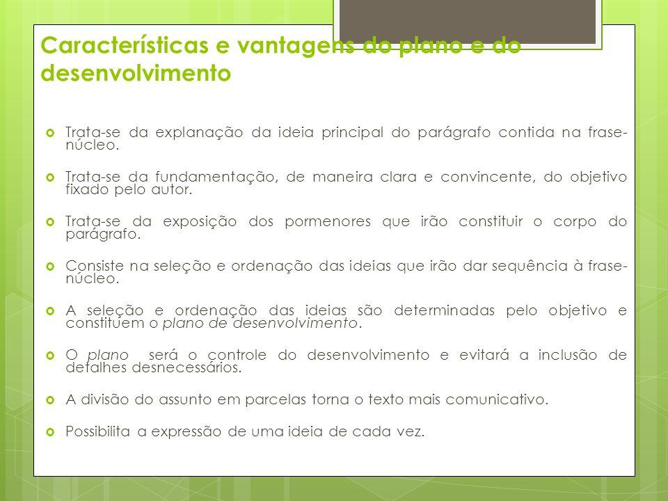 Características e vantagens do plano e do desenvolvimento