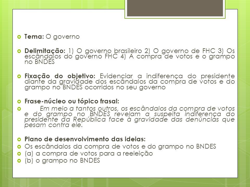 Tema: O governo Delimitação: 1) O governo brasileiro 2) O governo de FHC 3) Os escândalos do governo FHC 4) A compra de votos e o grampo no BNDES.