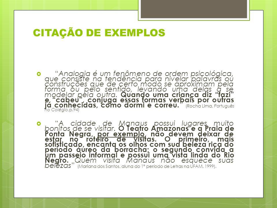 CITAÇÃO DE EXEMPLOS