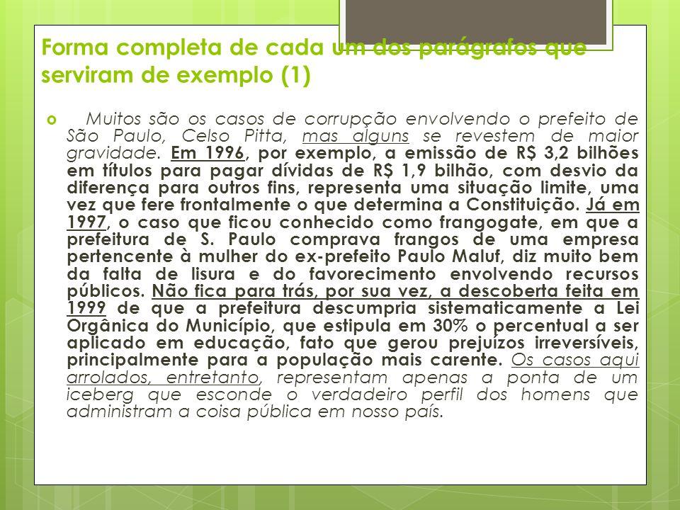 Forma completa de cada um dos parágrafos que serviram de exemplo (1)