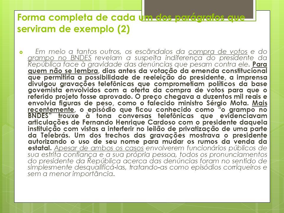 Forma completa de cada um dos parágrafos que serviram de exemplo (2)