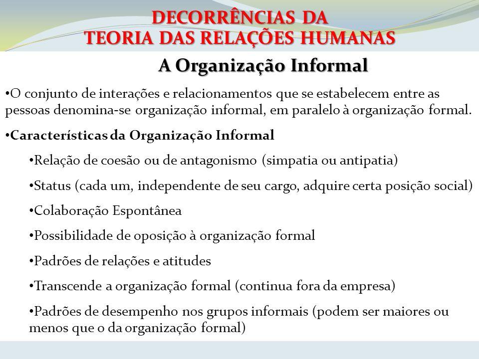 TEORIA DAS RELAÇÕES HUMANAS A Organização Informal
