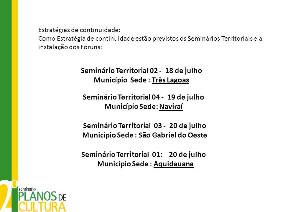 Seminário Territorial 02 - 18 de julho Município Sede : Três Lagoas