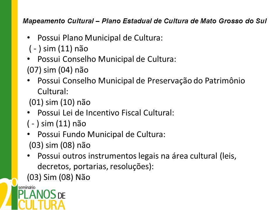 Possui Plano Municipal de Cultura: ( - ) sim (11) não