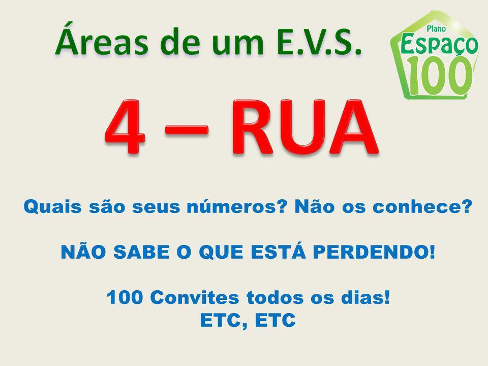 4 – RUA Áreas de um E.V.S. Quais são seus números Não os conhece