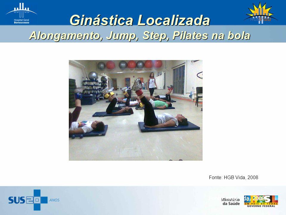 Ginástica Localizada Alongamento, Jump, Step, Pilates na bola