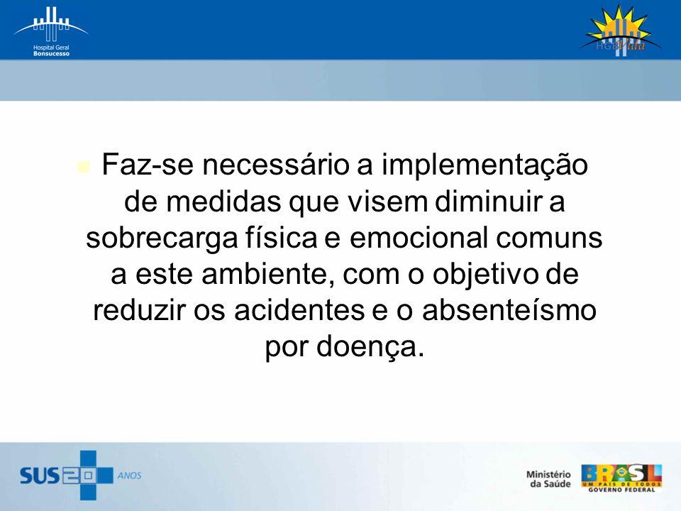 Faz-se necessário a implementação de medidas que visem diminuir a sobrecarga física e emocional comuns a este ambiente, com o objetivo de reduzir os acidentes e o absenteísmo por doença.