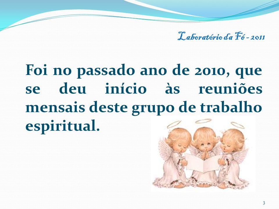 Laboratório da Fé - 2011 Foi no passado ano de 2010, que se deu início às reuniões mensais deste grupo de trabalho espiritual.