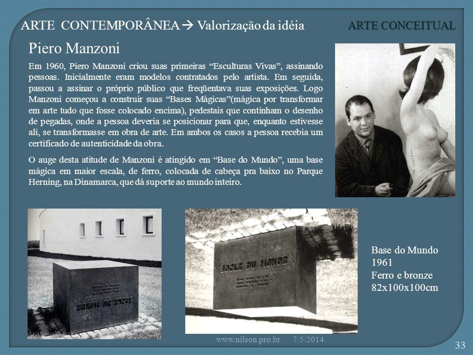Piero Manzoni ARTE CONTEMPORÂNEA  Valorização da idéia