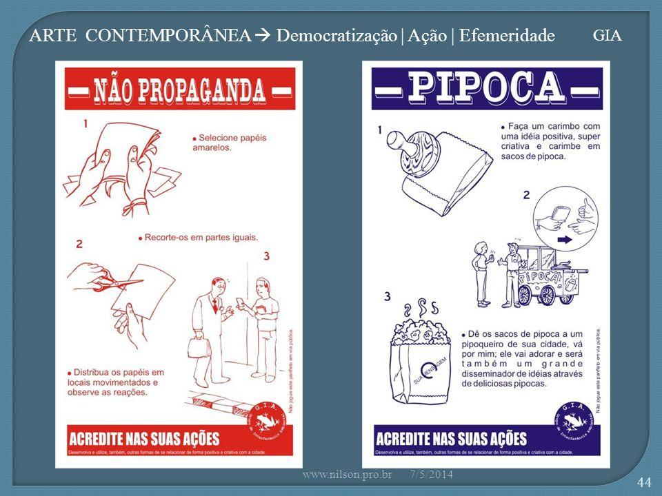 ARTE CONTEMPORÂNEA  Democratização | Ação | Efemeridade