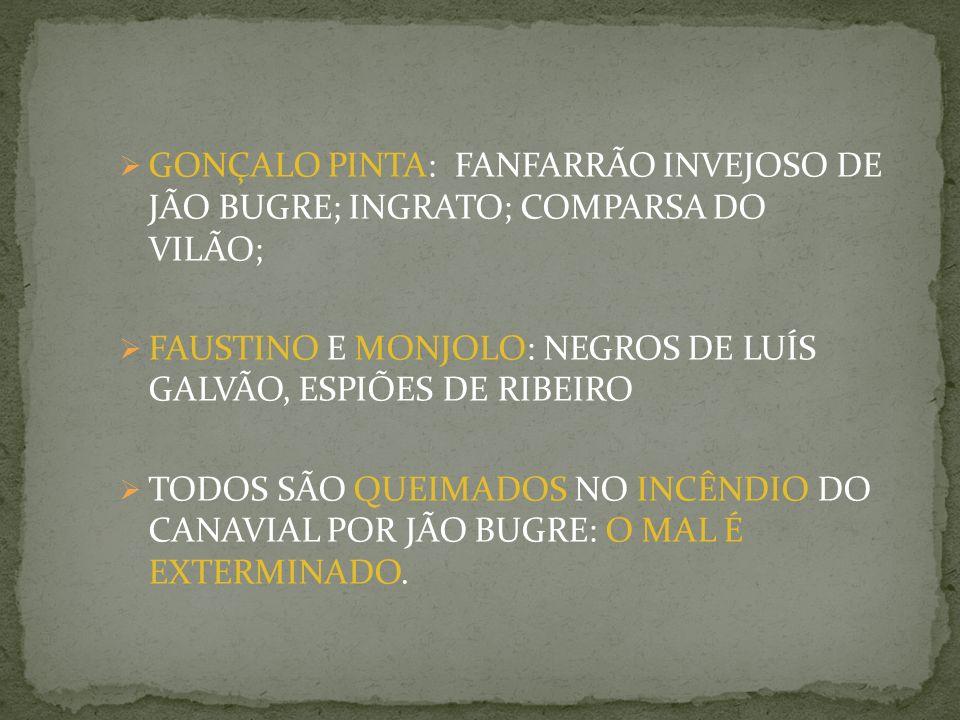 GONÇALO PINTA: FANFARRÃO INVEJOSO DE JÃO BUGRE; INGRATO; COMPARSA DO VILÃO;