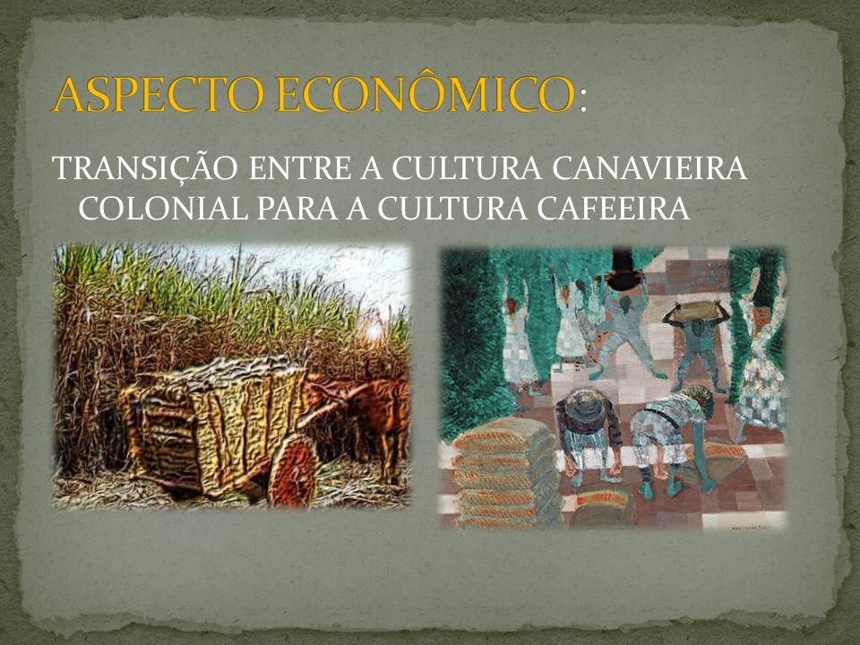 ASPECTO ECONÔMICO: TRANSIÇÃO ENTRE A CULTURA CANAVIEIRA COLONIAL PARA A CULTURA CAFEEIRA