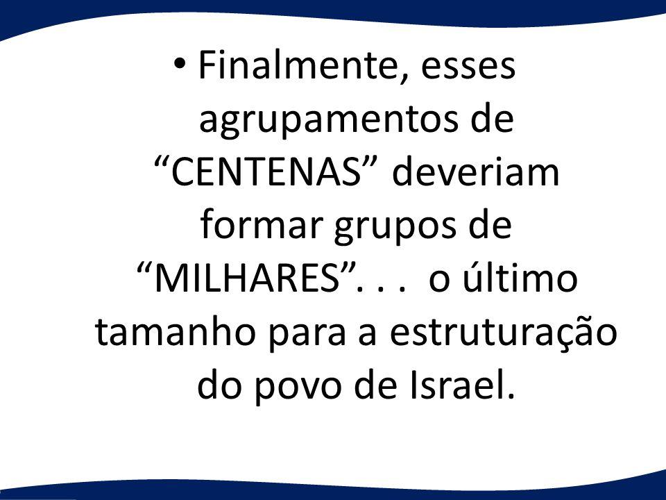 Finalmente, esses agrupamentos de CENTENAS deveriam formar grupos de MILHARES .