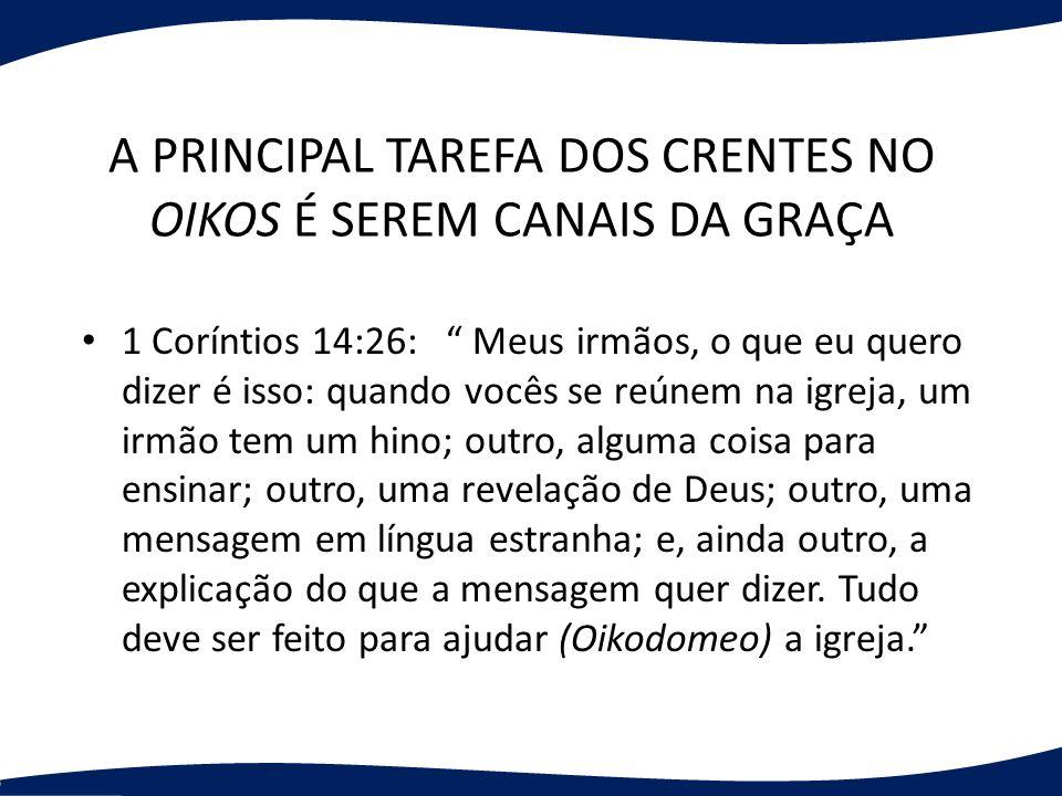 A PRINCIPAL TAREFA DOS CRENTES NO OIKOS É SEREM CANAIS DA GRAÇA
