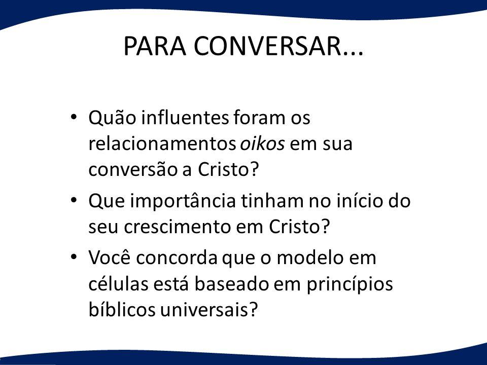 PARA CONVERSAR... Quão influentes foram os relacionamentos oikos em sua conversão a Cristo