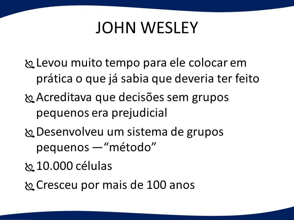 JOHN WESLEY Levou muito tempo para ele colocar em prática o que já sabia que deveria ter feito.