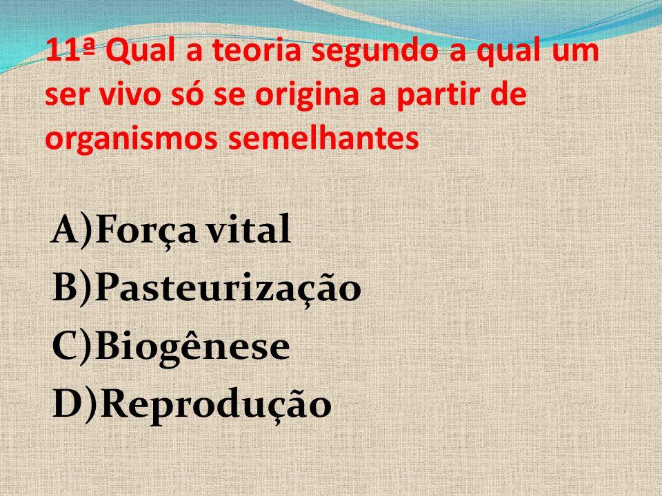 A)Força vital B)Pasteurização C)Biogênese D)Reprodução