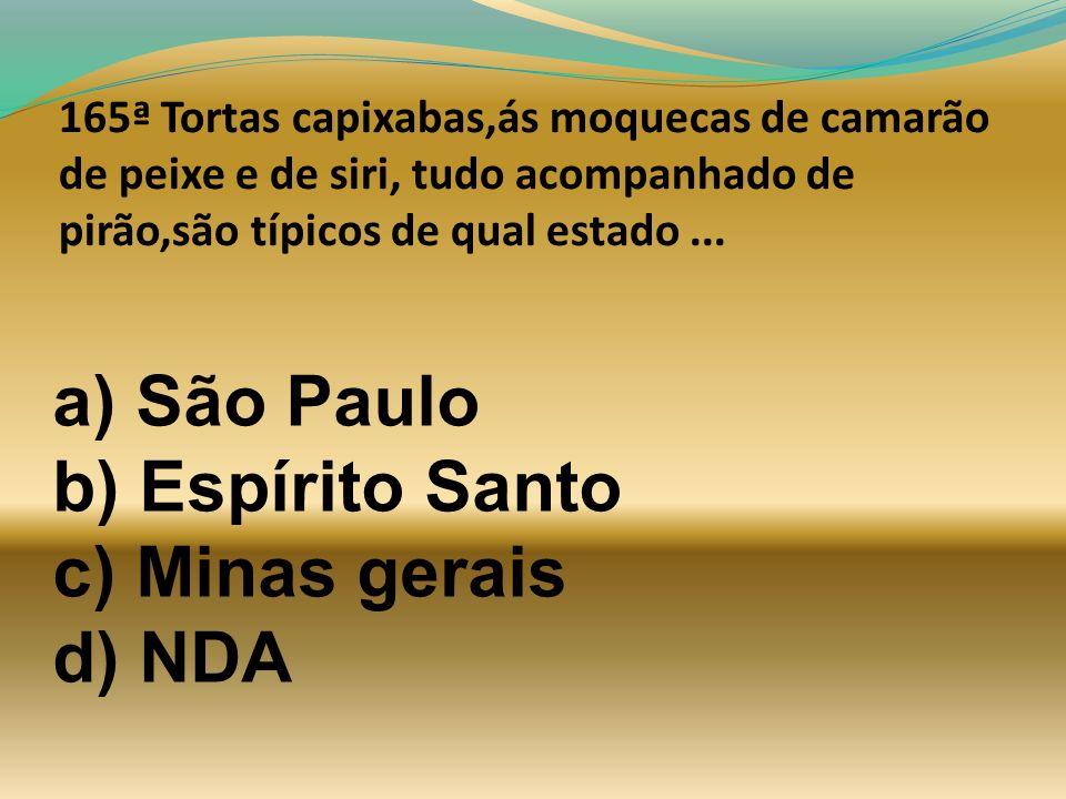 a) São Paulo b) Espírito Santo c) Minas gerais d) NDA
