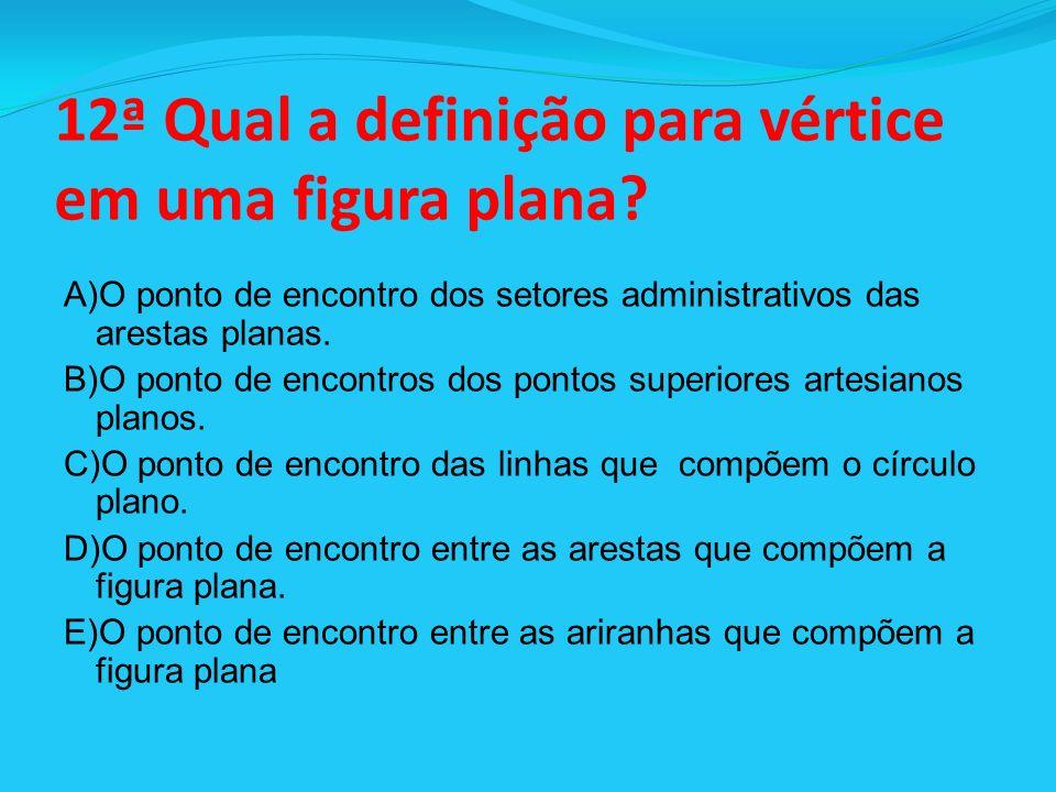 12ª Qual a definição para vértice em uma figura plana