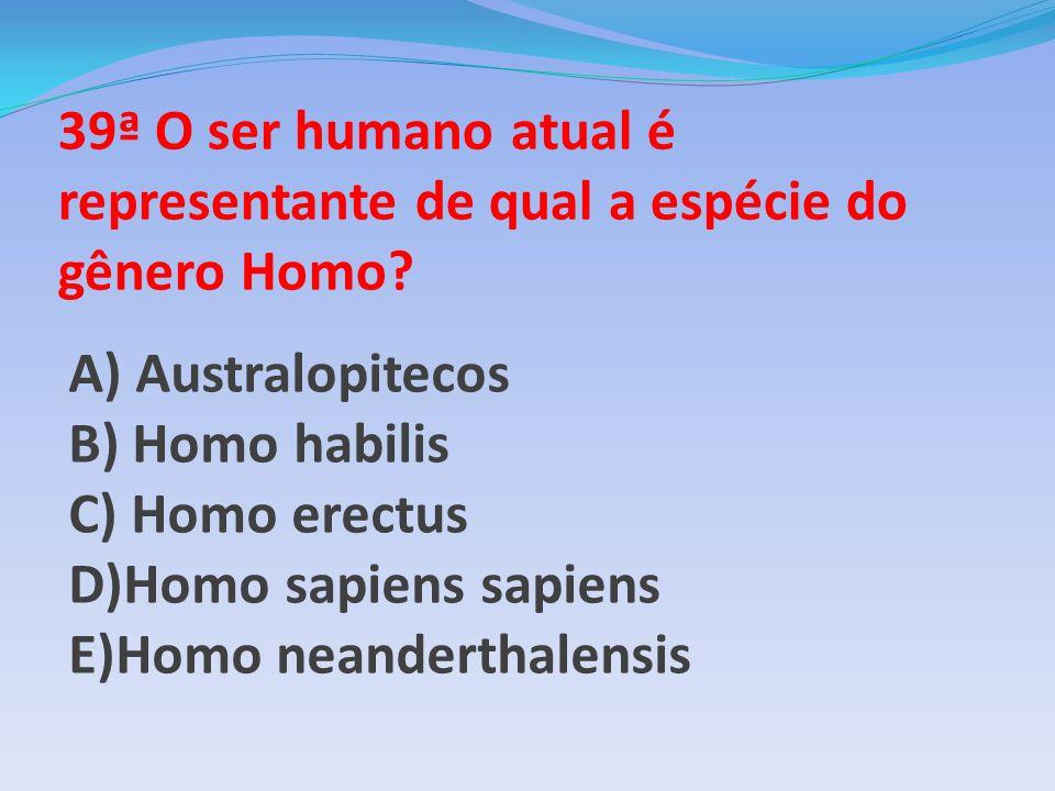 39ª O ser humano atual é representante de qual a espécie do gênero Homo