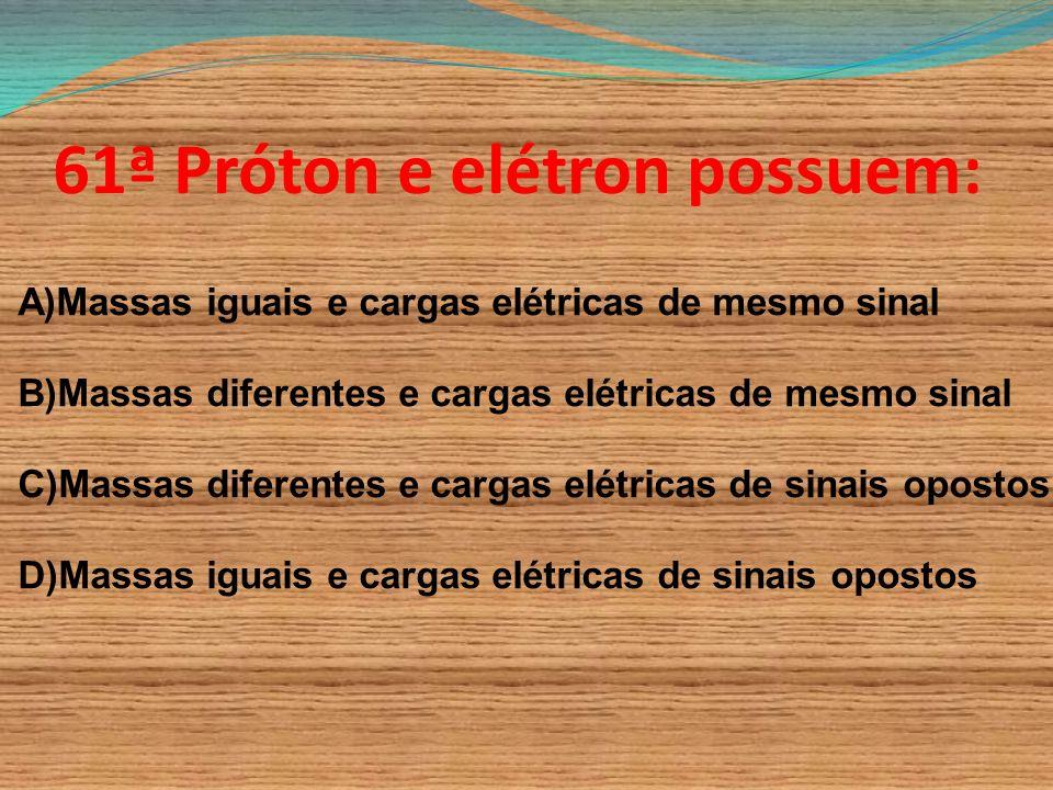 61ª Próton e elétron possuem: