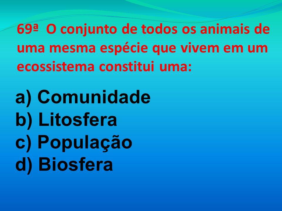 a) Comunidade b) Litosfera c) População d) Biosfera