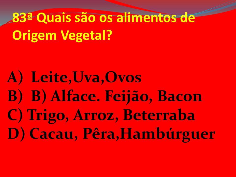 83ª Quais são os alimentos de Origem Vegetal