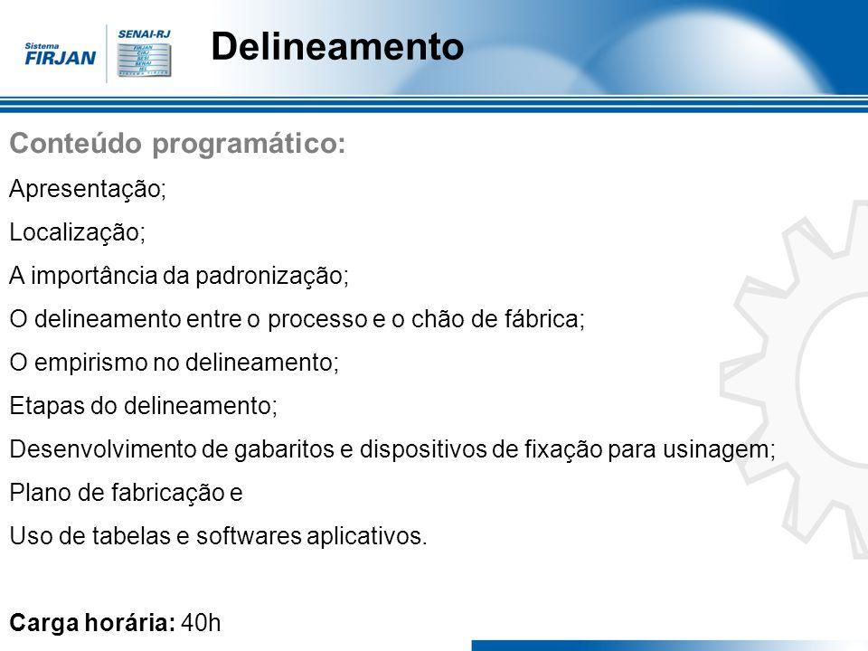 Delineamento Conteúdo programático: Apresentação; Localização;