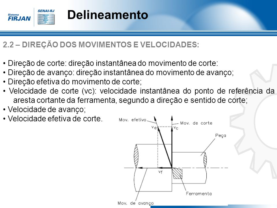 Delineamento 2.2 – DIREÇÃO DOS MOVIMENTOS E VELOCIDADES: