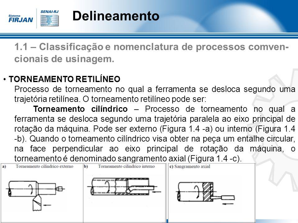 Delineamento 1.1 – Classificação e nomenclatura de processos comven-cionais de usinagem. • TORNEAMENTO RETILÍNEO.