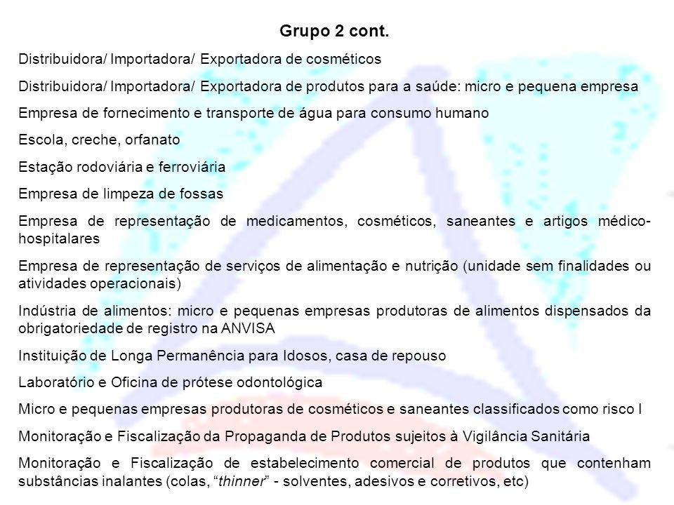 Grupo 2 cont. Distribuidora/ Importadora/ Exportadora de cosméticos