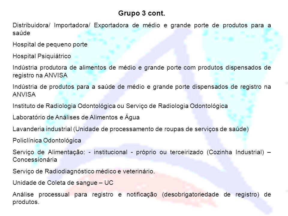 Grupo 3 cont. Distribuidora/ Importadora/ Exportadora de médio e grande porte de produtos para a saúde.
