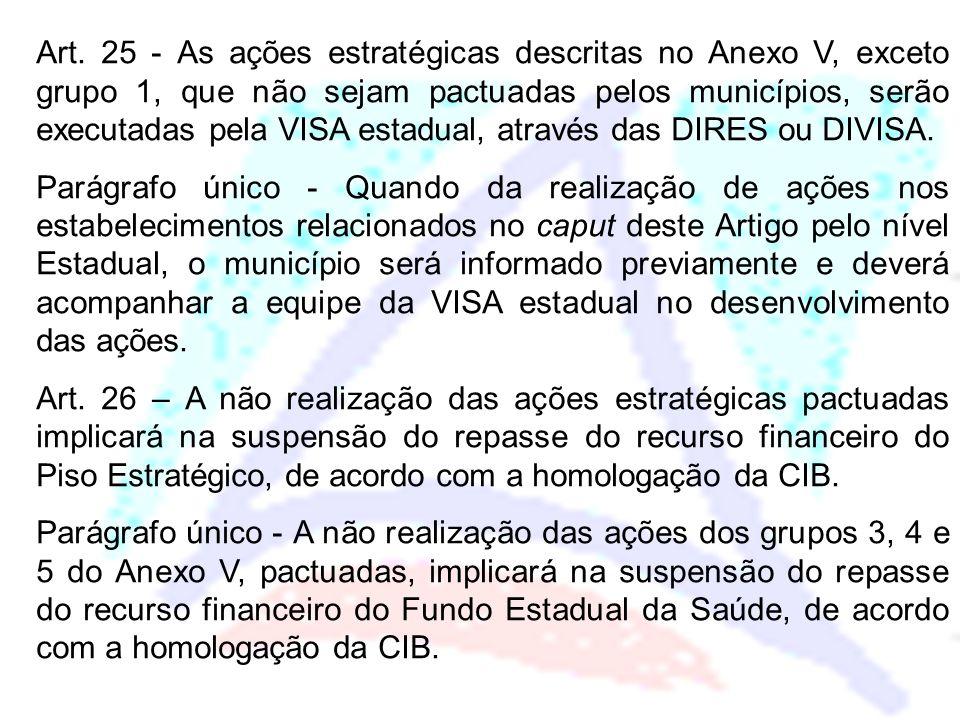 Art. 25 - As ações estratégicas descritas no Anexo V, exceto grupo 1, que não sejam pactuadas pelos municípios, serão executadas pela VISA estadual, através das DIRES ou DIVISA.