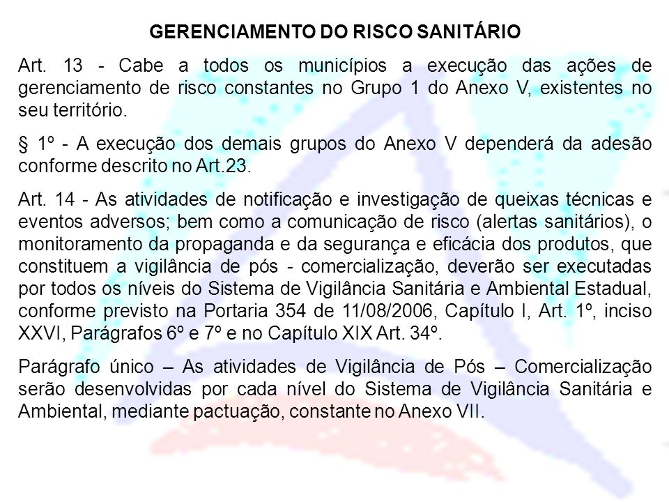 GERENCIAMENTO DO RISCO SANITÁRIO