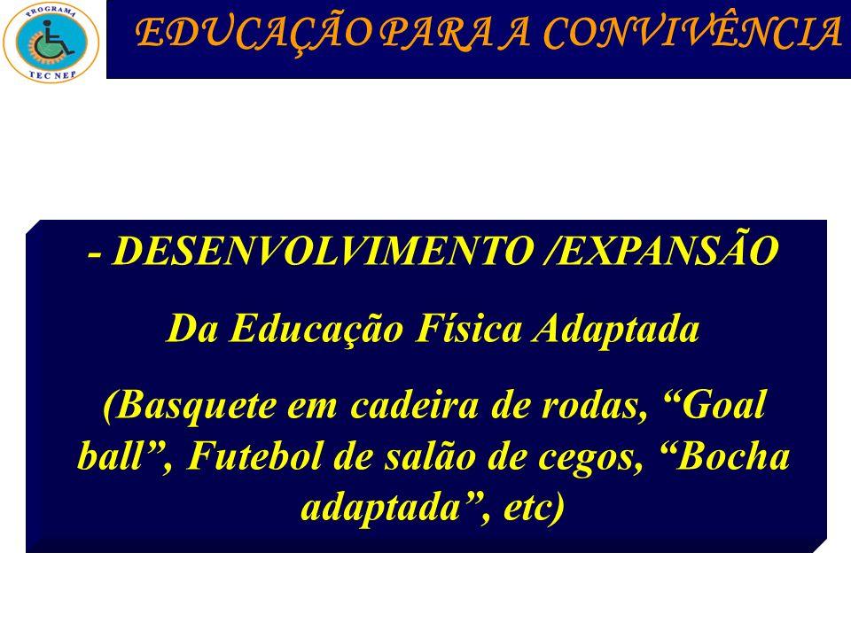 - DESENVOLVIMENTO /EXPANSÃO Da Educação Física Adaptada