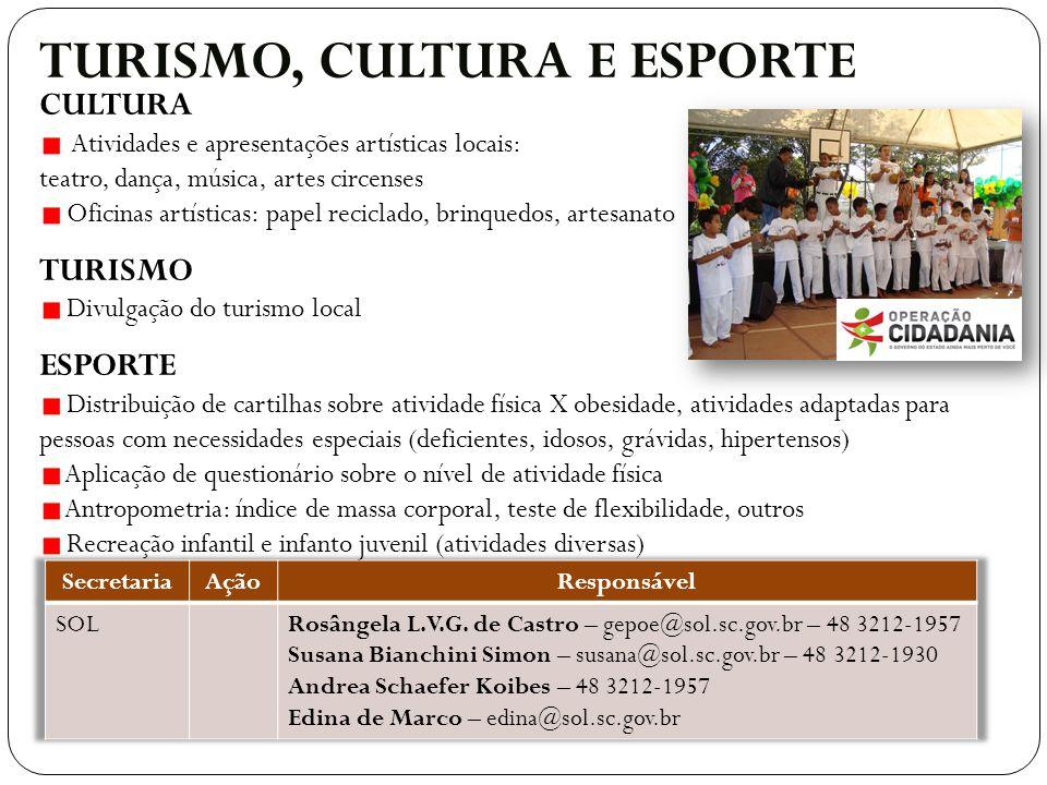 TURISMO, CULTURA E ESPORTE