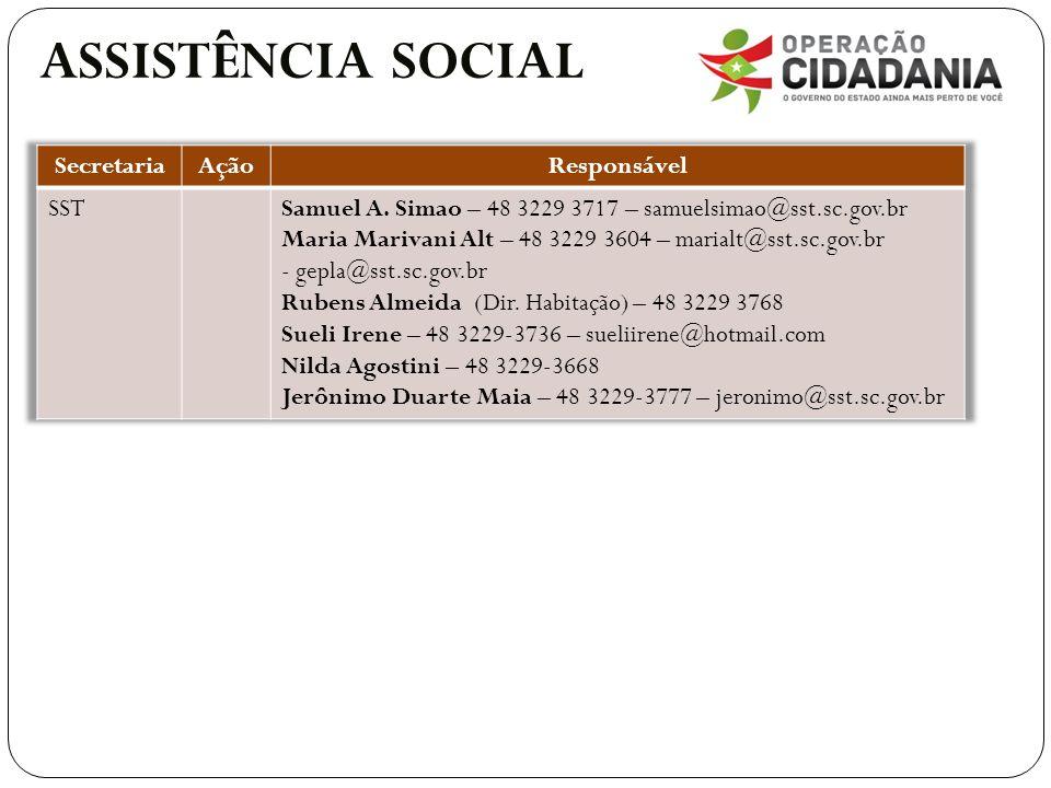 ASSISTÊNCIA SOCIAL Secretaria Ação Responsável SST