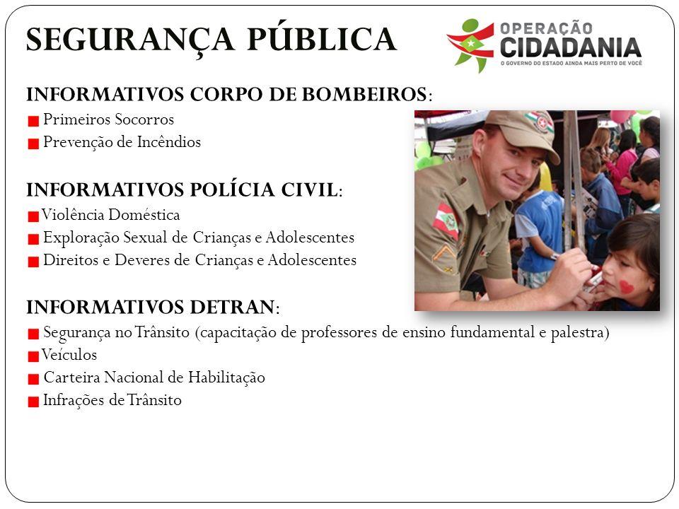 SEGURANÇA PÚBLICA INFORMATIVOS CORPO DE BOMBEIROS: